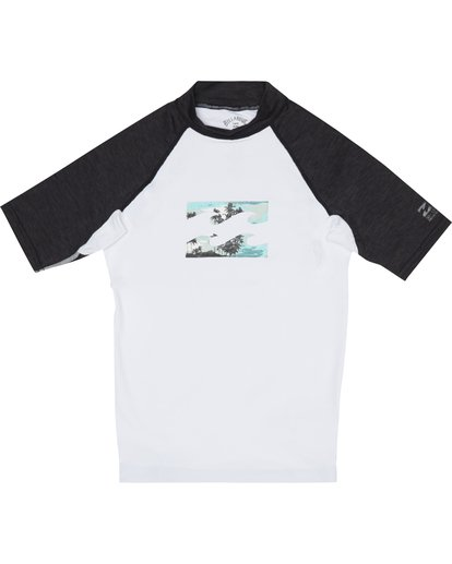2 Team Wave - Short Sleeve UPF 50 Rash Vest for Boys White S4KY11BIP0 Billabong