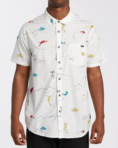 0 Dr Seuss One Fish Two Fish - Camisa de manga corta para Hombre Blanco U1SH21BIF0 Billabong