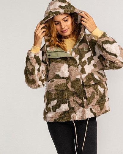 1 Adventure Division Collection Hiking Lover - Sherpa-Jacke für Frauen Grün U3JK16BIF0 Billabong