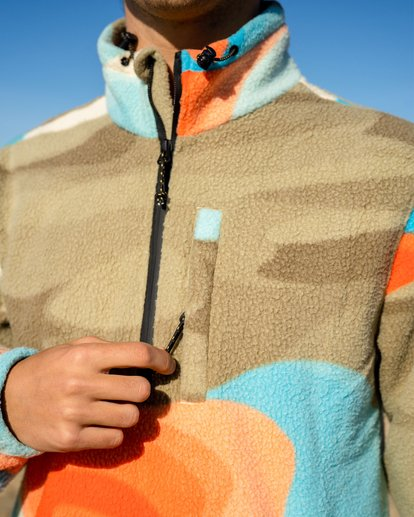 2 Adventure Division Desert Trip Furnace - Half-Zip Polar Fleece for Men Grey W1FL32BIP1 Billabong