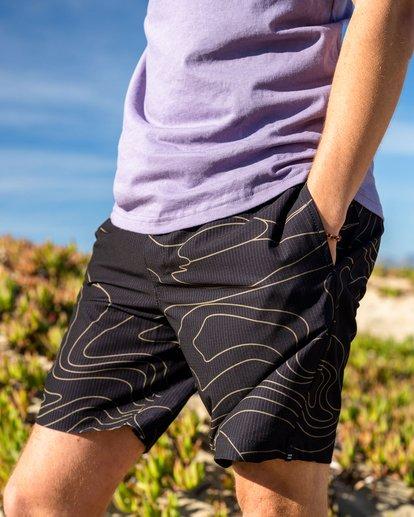 "0 Adventure Division Surftrek Perf Dune Lines 18"" - Elasticated Shorts for Men Black W1WK52BIP1 Billabong"