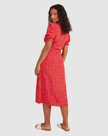 3 Steph - Robe midi portefeuille pour Femme Rouge W3DR58BIP1 Billabong