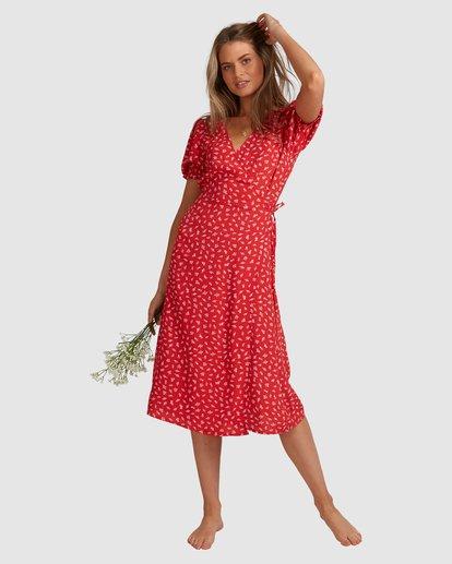 9 Steph - Robe midi portefeuille pour Femme Rouge W3DR58BIP1 Billabong