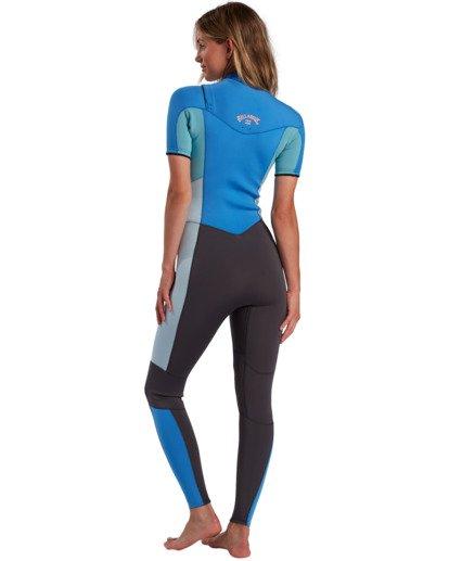 2 2/2mm Synergy - Traje de surf de primavera con manga corta y cremallera en el pecho para Mujer Azul W42G57BIP1 Billabong