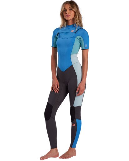 0 2/2mm Synergy - Traje de surf de primavera con manga corta y cremallera en el pecho para Mujer Azul W42G57BIP1 Billabong