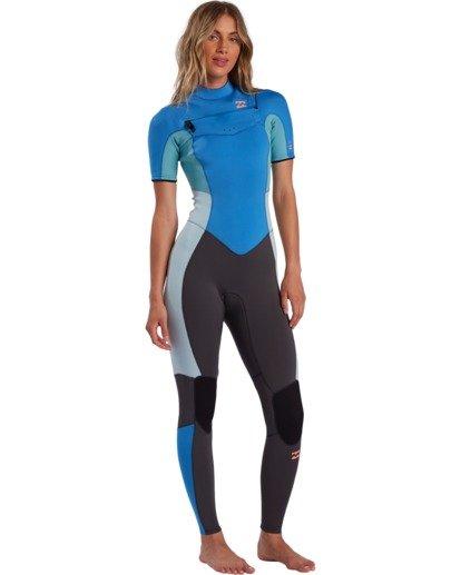 1 2/2mm Synergy - Traje de surf de primavera con manga corta y cremallera en el pecho para Mujer Azul W42G57BIP1 Billabong