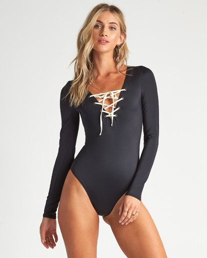 5 Onyx Wave Long Sleeve Swimsuit Black XR111BON Billabong