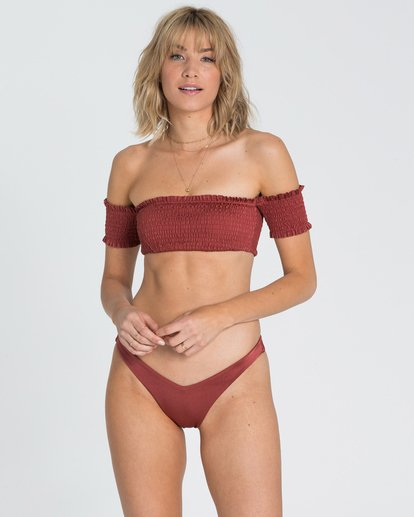 1 Sol Searcher Off Shoulder Strapless Bikini Top Red XT03SBSO Billabong