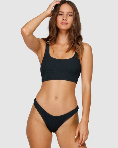 6 Summer High Crop Tank Bikini Top Black XT97VBSU Billabong