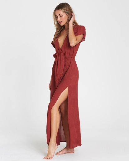 1 On The Sea Woven Cover Up Maxi Dress Red XV02SBON Billabong
