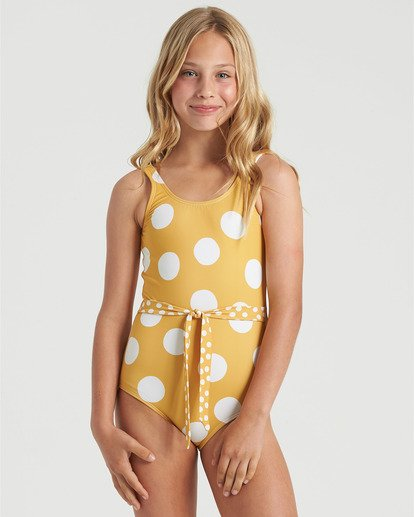 1 Girls' 4Ever Sun One Piece Swim Grey Y1013B4E Billabong