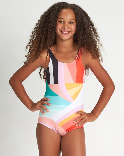 0 Girls' Easy On Me One Piece Grey Y1021BEA Billabong