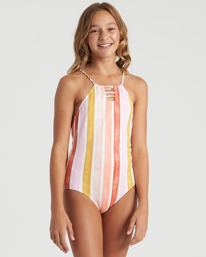 3 Girls' So Stoked One Piece Swim Grey Y1023BSO Billabong