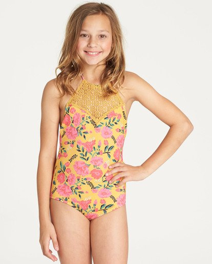 0 Girls' Sun Dream One Piece Swim Grey Y109TBSU Billabong