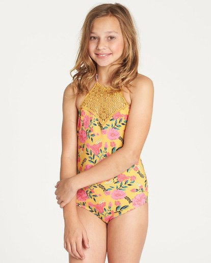 4 Girls' Sun Dream One Piece Swim White Y109TBSU Billabong