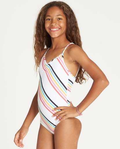 1 Girls' Seeing Rainbows One Piece Swim Grey Y111TBSE Billabong