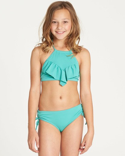 0 Girls' Sol Searcher High Neck Bikini Set Green Y202TBSO Billabong