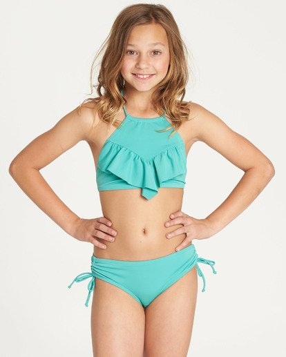 4 Girls' Sol Searcher High Neck Bikini Set Green Y202TBSO Billabong