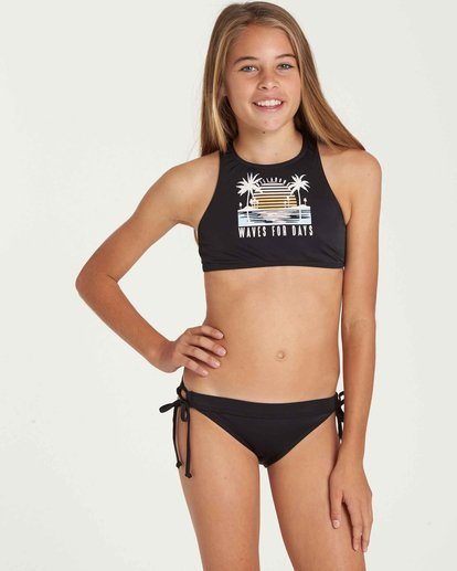 0 Girls' Waves For Days High Neck Swim Set Black Y203QBWA Billabong