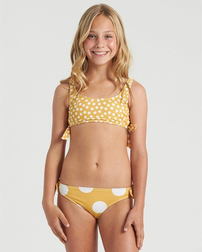 0 Girls' 4Ever Sun Hankie Tie Bikini Set Grey Y2043B4E Billabong