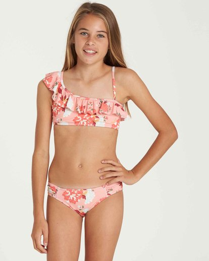 0 Girls' All Along Ruffle Swim Set Pink Y205QBAL Billabong