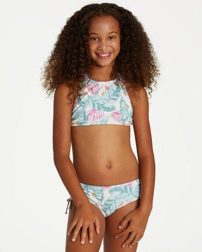 0 Girls' Mas Playas High Neck Swim Set Grey Y205VBMA Billabong