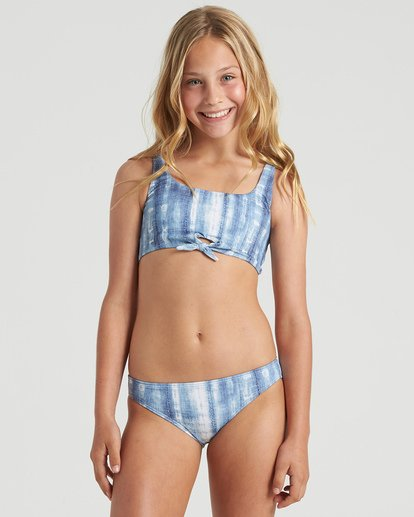 3 Girls' In A Wave Tie Tank Bikini Set Blue Y2083BIN Billabong