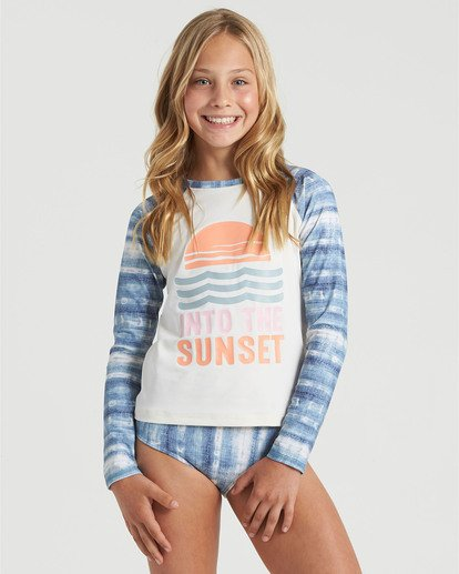 0 Girls' In A Wave Rashguard Swim Set Blue Y2103BIN Billabong
