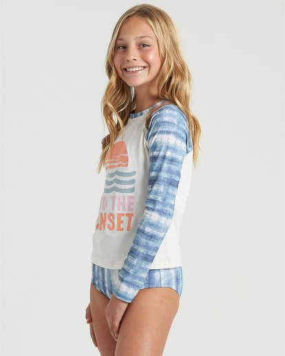 2 Girls' In A Wave Rashguard Swim Set Blue Y2103BIN Billabong