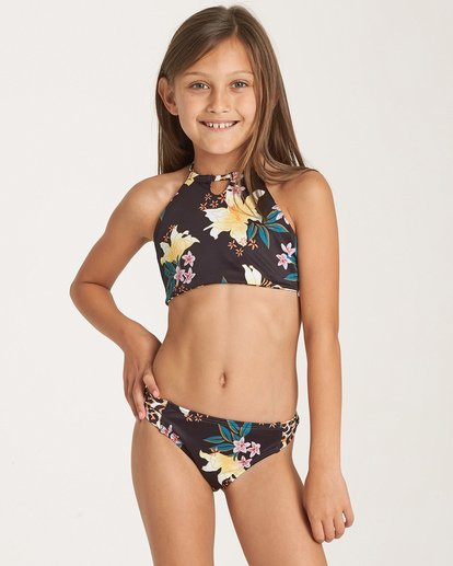 0 Girls' Wild Side High Neck Swim Set Grey Y211WBWI Billabong