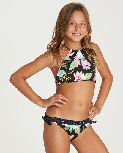 0 Girls' Night Bloom High Neck Bikini Set Grey Y213UBNI Billabong