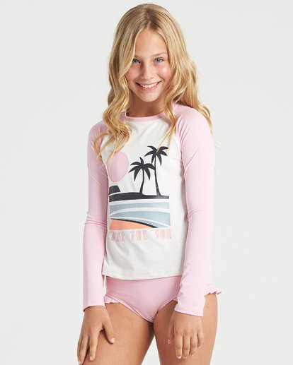 1 Girls' Warm Days Long Sleeve Rashguard White YR013BWA Billabong
