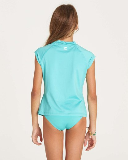 2 Girls' Sol Seacher Short Sleeve Rashguard Green YR01LSOL Billabong