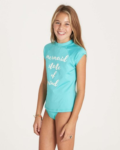 1 Girls' Sol Seacher Short Sleeve Rashguard Green YR01LSOL Billabong