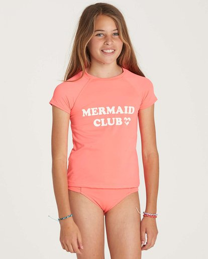 0 Girls' Stay Salty Short Sleeve Rashguard Pink YR01NBSO Billabong