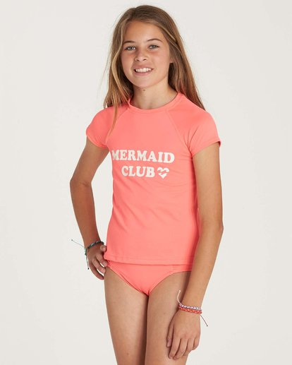 1 Girls' Stay Salty Short Sleeve Rashguard Pink YR01NBSO Billabong