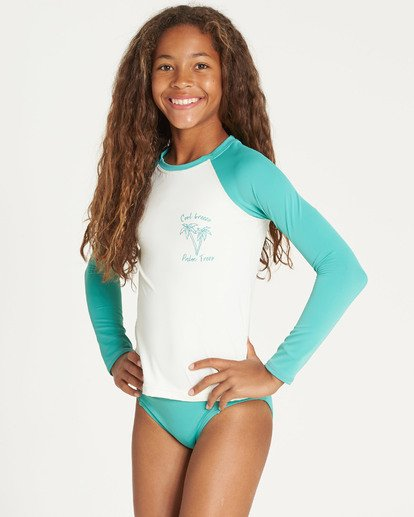 1 Girls' Sol Searcher Long Sleeve Rashguard Green YR02TBSO Billabong