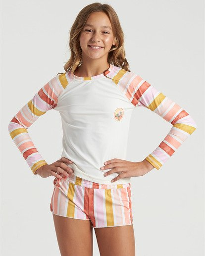 3 Girls' So Stoked Long Sleeve Rashguard White YR033BSO Billabong