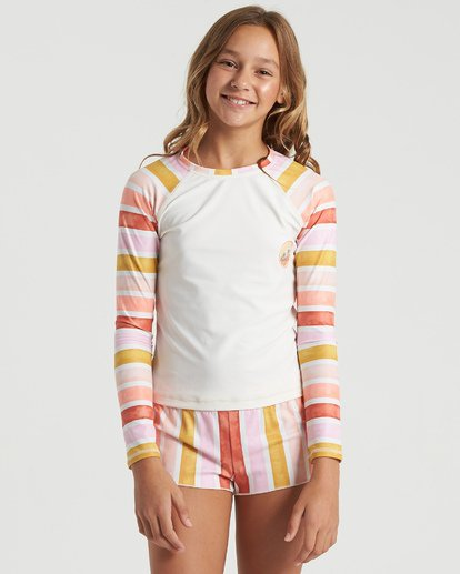1 Girls' So Stoked Long Sleeve Rashguard White YR033BSO Billabong