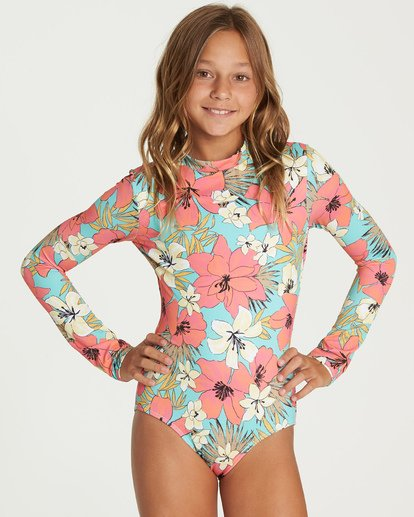 0 Girls' Aloha Sun Bodysuit Rashguard Green YR03UBAL Billabong