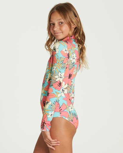 1 Girls' Aloha Sun Bodysuit Rashguard Green YR03UBAL Billabong