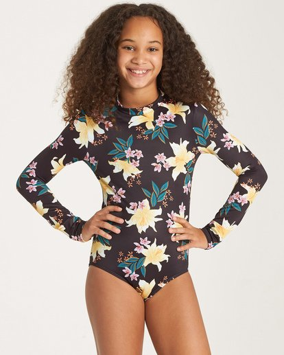 0 Girls' Wild Side Bodysuit Rashguard Black YR03WBWI Billabong