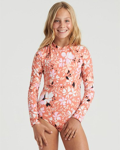 3 Girls' Petal Party Bodysuit Swim Multicolor YR043BPE Billabong
