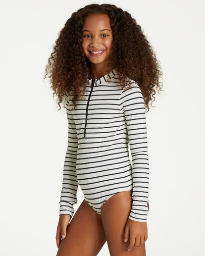 1 Girls' Groovy Nights Bodysuit Rashguard White YR05VBGR Billabong