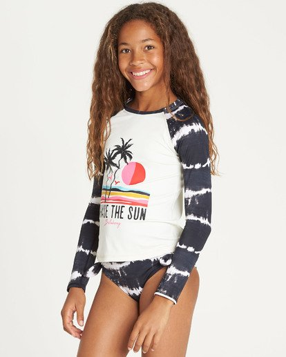 1 Girls' Washed Out Long Sleeve Rashguard Black YR06TBWA Billabong