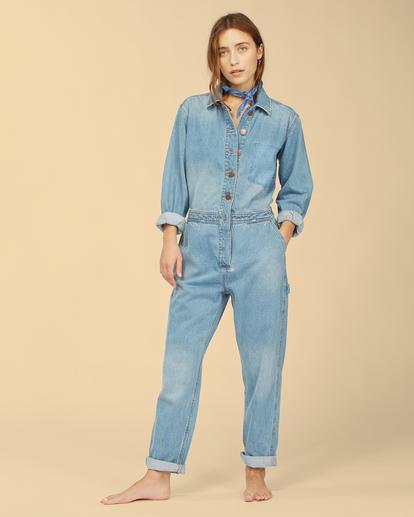 3 Wrangler On The Range - Combinaison en jean pour Femme Beige Z3PT01BIF1 Billabong