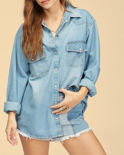 7 Wrangler Headed West - Long Sleeve Shirt for Women Blue Z3TP18BIF1 Billabong