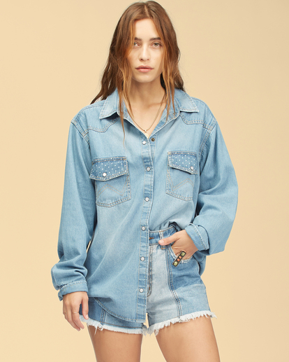 2 Wrangler Headed West - Long Sleeve Shirt for Women Blue Z3TP18BIF1 Billabong