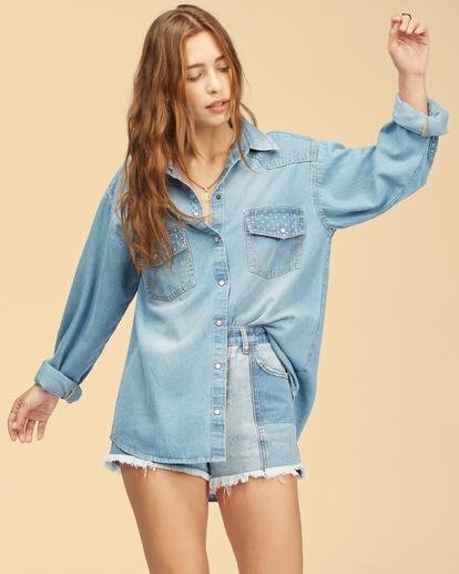 6 Wrangler Headed West - Long Sleeve Shirt for Women Blue Z3TP18BIF1 Billabong