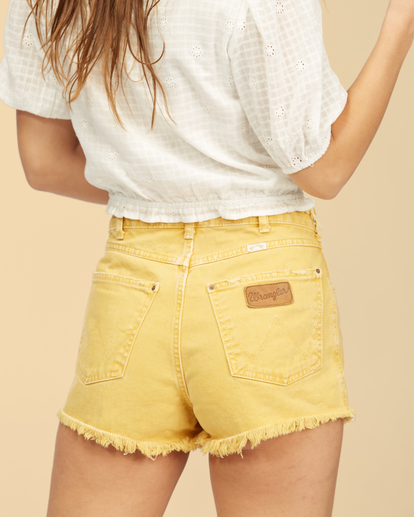 6 Wrangler Showdown - Short en jean taille haute pour Femme Jaune Z3WK04BIF1 Billabong